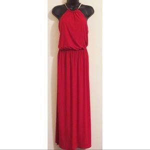 MSK Red Gold Chain Halter Maxi Dress Size Medium